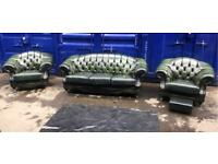 Thomas Lloyd chesterfield 4pc regency suite green genuine leather sofa 2 x club chairs & footstool