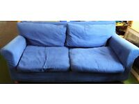 Sofa bed Bought from habitat blue loose cover washable(+ cushion covers) quality built