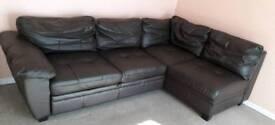 Corner leather sofa bed