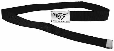 "Clamp Web Men Canvas Military Chevrolet Corvette C5C 1.5"" Chrome Black Webbing"