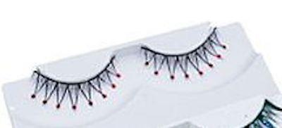 Lange schwarze Wimpern mit Strass Glitzersteinen in Rot + Kleber ()