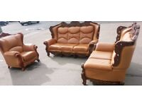 France style louis 3 + 2 +1 leather sofa