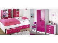 NEW 4-Piece High Gloss Pink Bedroom Set with 2 Door Wardrobe, 4 Drawer Chest, Bedside Table and Bed
