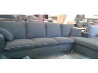 Corner 4 seater with chase & crome legs grey fabric sofa Brand New settee Couch