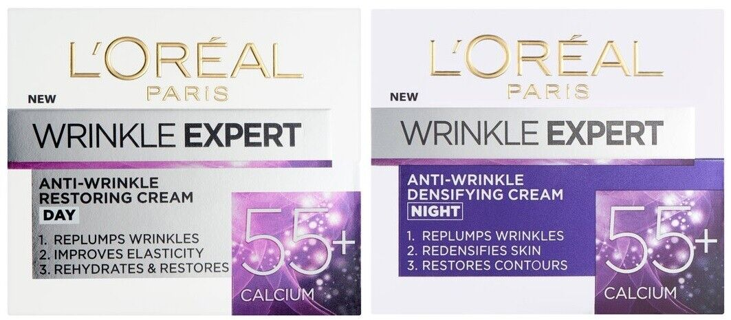 LOreal Wrinkle Expert 55+ Anti Wrinkle Anti Ageing Calcium Day + Night Cream