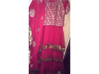 Asian red and gold embroidered anarkali dress