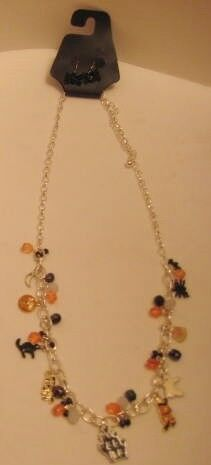 Halloween Jewelry Set - Charm Necklace w/ Spider Earrings - Haunted House Cat