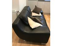 2 seater leather sofa with cushions
