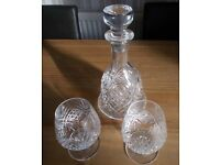 Brand new Cut Glass Decanter & 2 Whisky Glasses