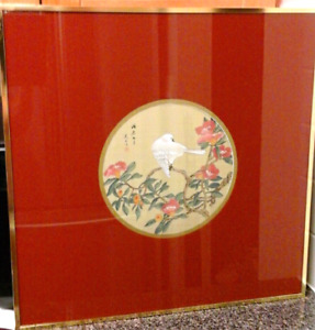 Silk Original Hand Painting  in Gold Frame