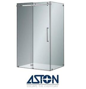 NEW ASTON SHOWER ENCLOSURE SEN976-SS-48-10 154937609 MOSELLE FRAMELESS SLIDING DOOR ENCLOSURE IN STAINLESS STEEL - 48...