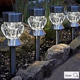 Brand New & Boxed - Set of 4 Solar Crystal Glass Stainless Steel Multi Purpose Lights