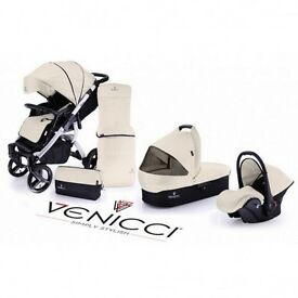 Venicci 3 in 1 travel system with white frame