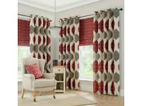 """Dunelm red & grey eyelet lined curtains 46"""" wide x 90"""" drop"""