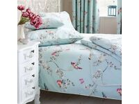 Duck Egg Blue Bird Patterned Duvet Cover, Pillow Case and Curtains with Tiebacks