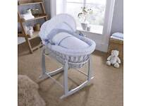 Clair De Lune Wicker Grey Moses Basket with White Stand Used
