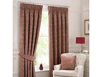 Willow Red lined , pencil pleat (un- pulled) curtains x2 pairs ..BRAND NEW