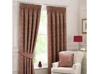 BRAND NEW Willow Red lined , pencil pleat (un- pulled) curtains x2 pairs ..