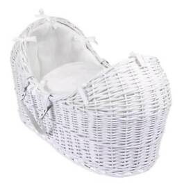 Clare de Lune white wicker moses basket and rocker