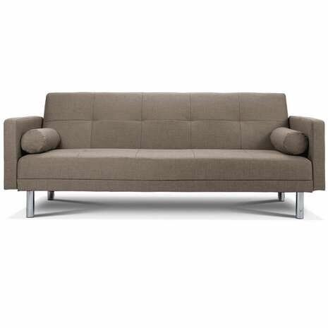 New Monroe 3 Seater Sofa Bed With Bolster Cushions In Grey Fabric
