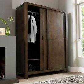Lyon Walnut Triple Sliding Door Wardrobe - ex-display - RRP £1500 - can deliver locally for free