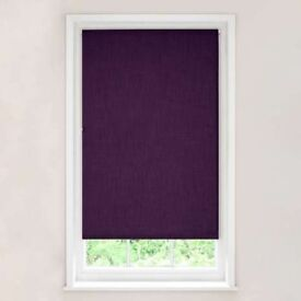 NEW x 2 DUNHELM DEEP AUBERGINE BLACKOUT ROLLER BLINDS WIDTH: 3FT LENGTH DROP 64 INCHES RRP £24