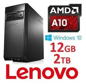 RFB LENOVO H50 AMD A10 DESKTOP PC 90BG004MCF 148140564 AMD A10 7800 12GB RAM 2TB HDD WIN 10 COMPUTER