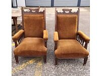 ANTIQUE EDWARDIAN SOLID OAK CHAIRS