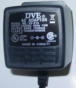 Genuine DVE DV-91A Charger/Adapter 9VDC 1000mA