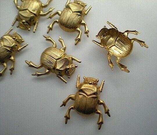 6 medium brass scarab beetle stampings