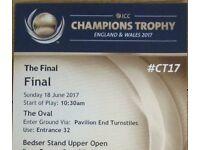 INDIA VS PAKISTAN ICC CHAMPIONS TROPHY Finals LAST SPARE TICKET