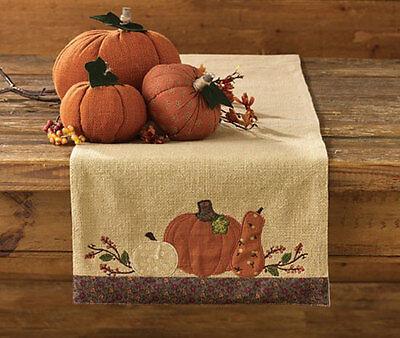 "Autumn Pumpkin Harvest Embroidered Table Runner 13""x54"""