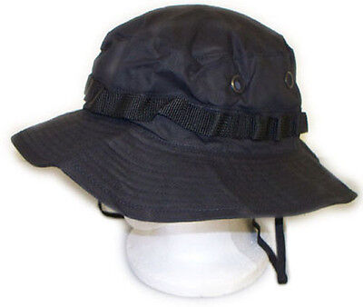 acb612644da86 U.S Armed Forces Style Boonie Hat Cap with Chin Strap - Black