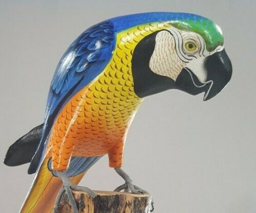 """Hand Carved Hand Painted Wood Macaw Blue 20"""" Exotic Hardwood"""