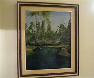 WOODEN FRAMED M. BONCEY OUTDOOR NATURE PAINTING