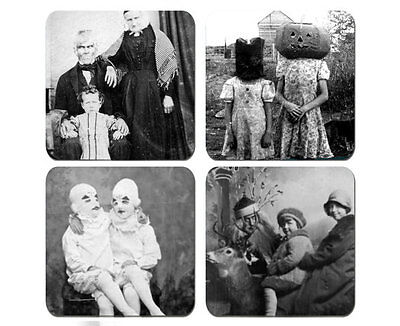 Creepy Vintage PhotoGraphs Coaster Set Of 4 Neoprene Washable Bar Coffee - Photo Coaster