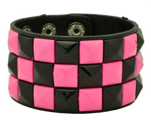 Black-with-White-Crack-line-Checkered-Studded-Black-Leather-Bracelet-Brand-New