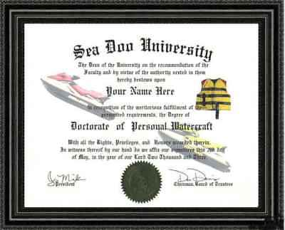 Personal Watercraft Lover's Doctorate Diploma Custom made & Designed for You