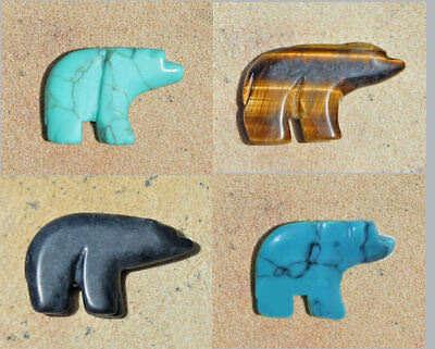 Gemstone Walking Bear PENDANT FOCAL BEAD * Your Choice of Stone / (Gemstone Focal Bead)