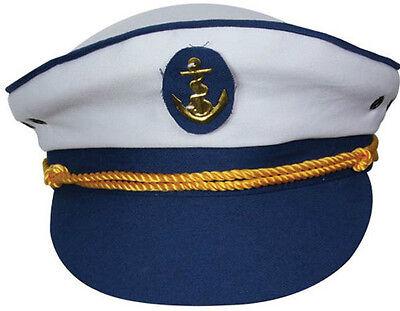 NEU Yacht Boot Kapitän marineblau See Matrose Hut Kappe Kostüm Skipper marine