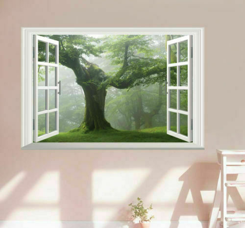 Home Decoration - Old Green Trees 3D Window View Wall Art Sticker Vinyl Mural Decal DIY Home Decor