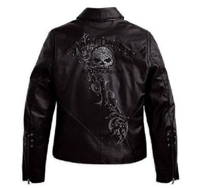 Harley Davidson Women's WICKED Swarovski Skull Black Leather Jacket 97123-09VW S