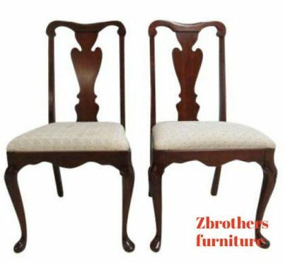 Pair Pennsylvania House Solid Cherry Chippendale Dining Room Side Desk Chairs  A