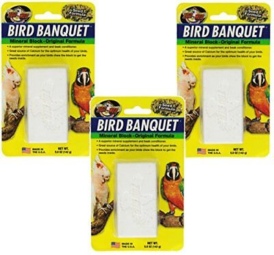 Zoo Med Mineral Block Original Formula Banquet Bird Food 5-Ounce (3 Pack)
