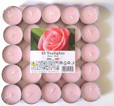 25 x Rose Scented Tealights Tea Light Candles Fragranced Candle
