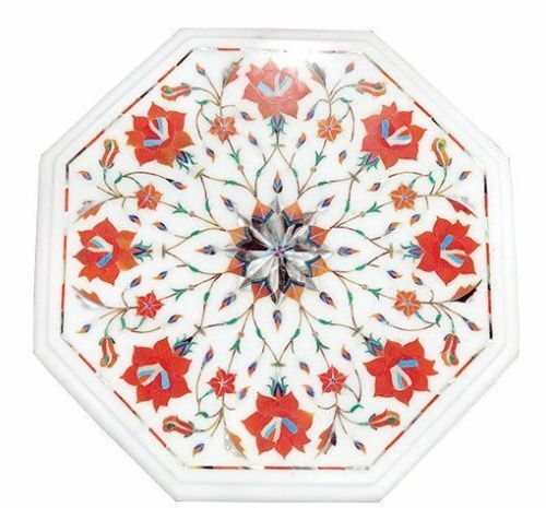 """12"""" Marble Side Coffee Table Top Mosaic Inlay Marquetry Living Art Home Decor"""