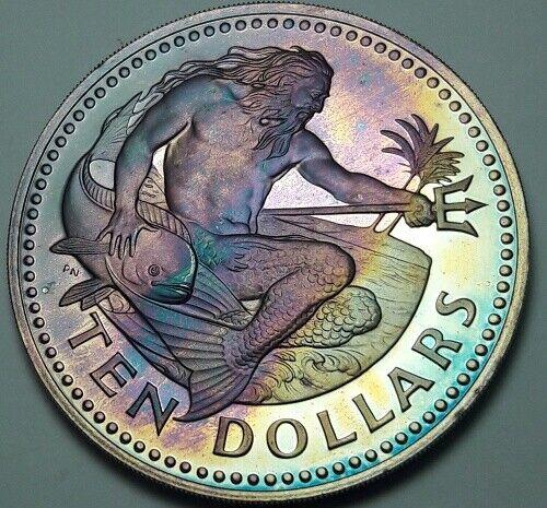 1973 BARBADOS TEN SILVER DOLLARS BU UNC NICE COLOR TONE !!!!!