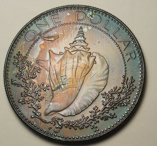 1974 BAHAMAS SILVER PROOF ONE DOLLAR BU UNC COLOR TONED COIN