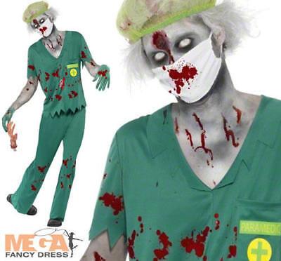 Zombie Paramedic Mens Halloween Fancy Dress Doctor Nurse Horror Uniform Costume](Halloween Paramedic Costume)