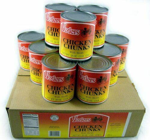 New Yoders Canned Chicken Chunk 12 Cans, 10 years shelf life, Free Shipping